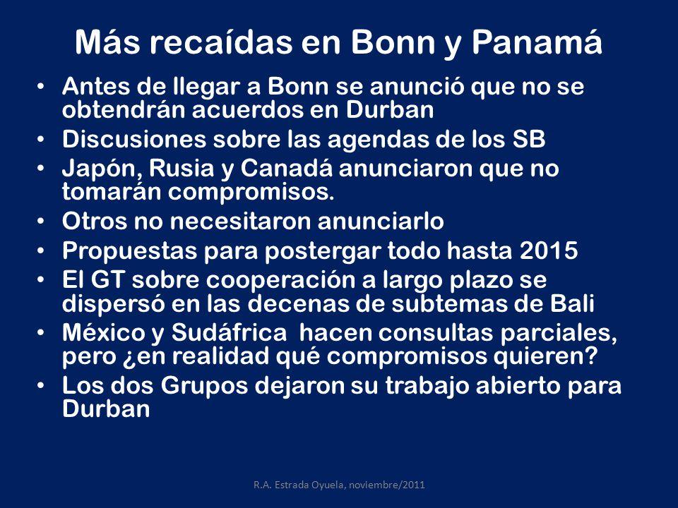 Más recaídas en Bonn y Panamá Antes de llegar a Bonn se anunció que no se obtendrán acuerdos en Durban Discusiones sobre las agendas de los SB Japón, Rusia y Canadá anunciaron que no tomarán compromisos.