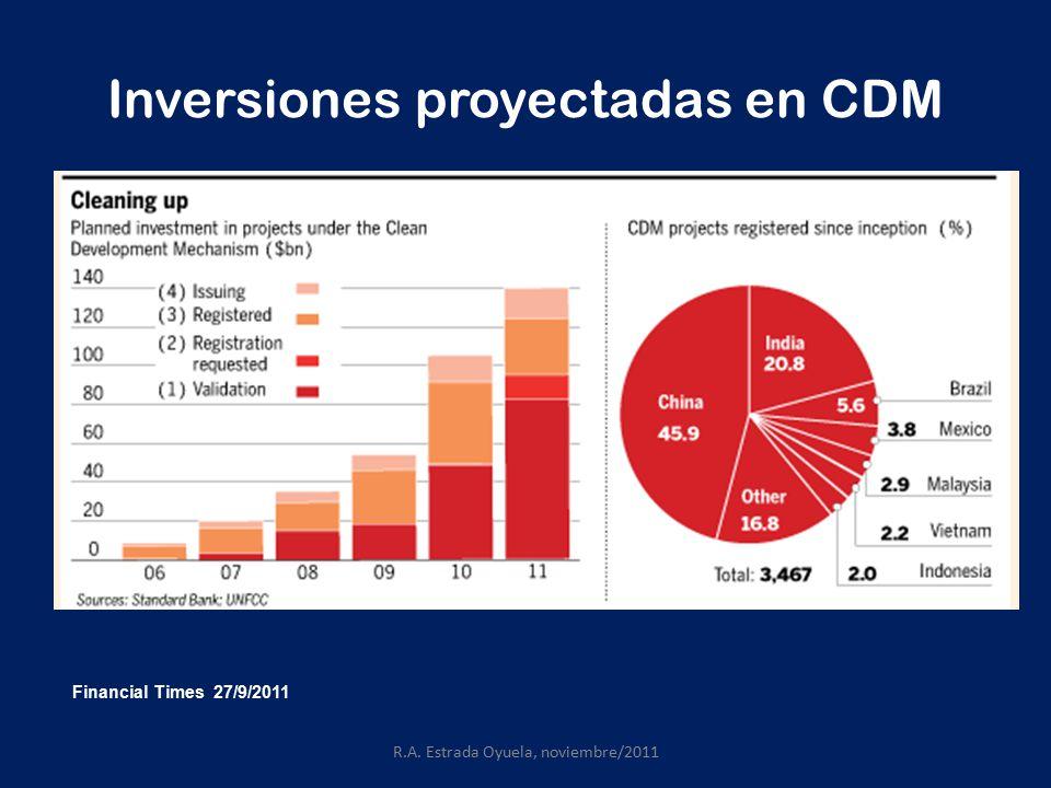 Inversiones proyectadas en CDM R.A. Estrada Oyuela, noviembre/2011 Financial Times 27/9/2011