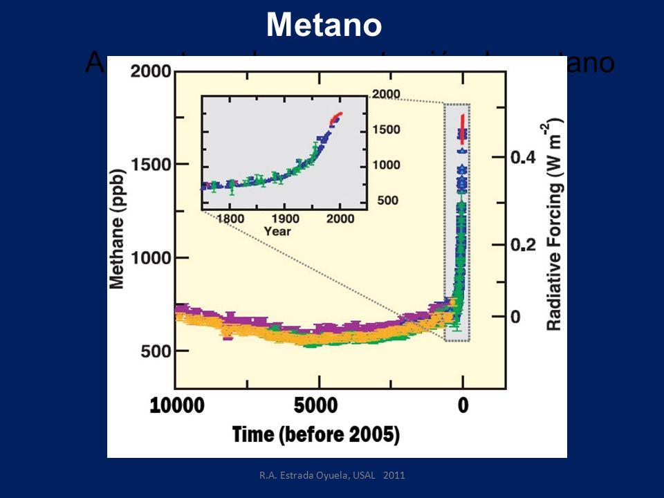 R.A. Estrada Oyuela, USAL 2011 Aumento en la concentración de metano Metano