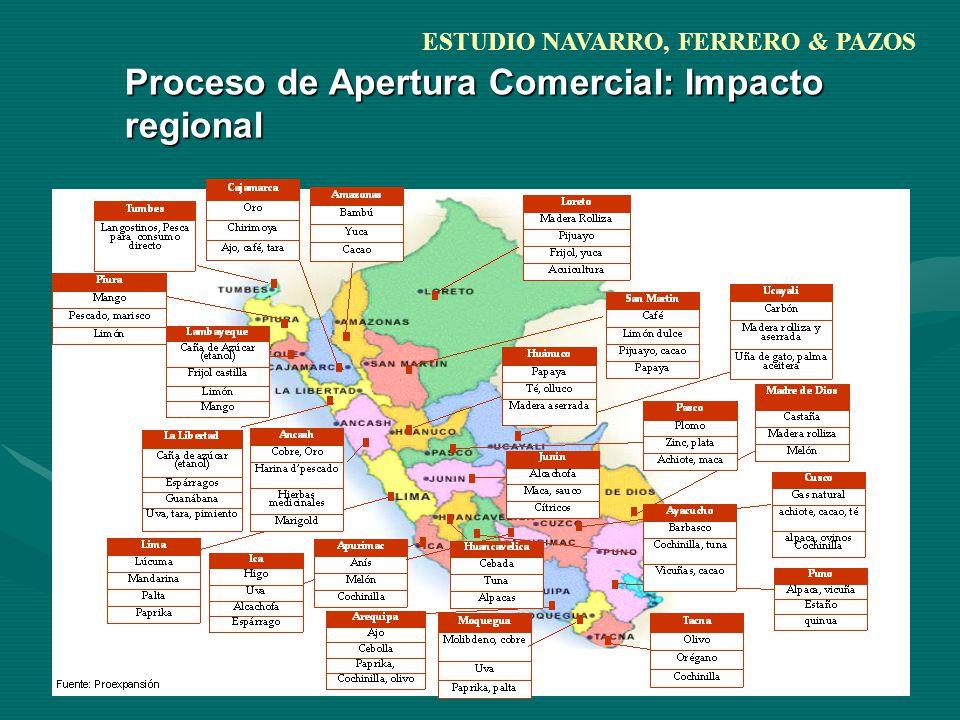 Proceso de Apertura Comercial: Impacto regional ESTUDIO NAVARRO, FERRERO & PAZOS