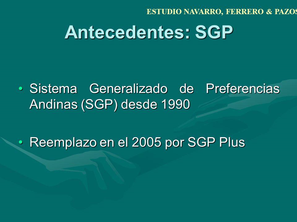 Antecedentes: SGP Sistema Generalizado de Preferencias Andinas (SGP) desde 1990Sistema Generalizado de Preferencias Andinas (SGP) desde 1990 Reemplazo en el 2005 por SGP PlusReemplazo en el 2005 por SGP Plus ESTUDIO NAVARRO, FERRERO & PAZOS