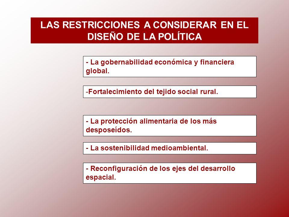 LAS RESTRICCIONES A CONSIDERAR EN EL DISEÑO DE LA POLÍTICA - La gobernabilidad económica y financiera global.