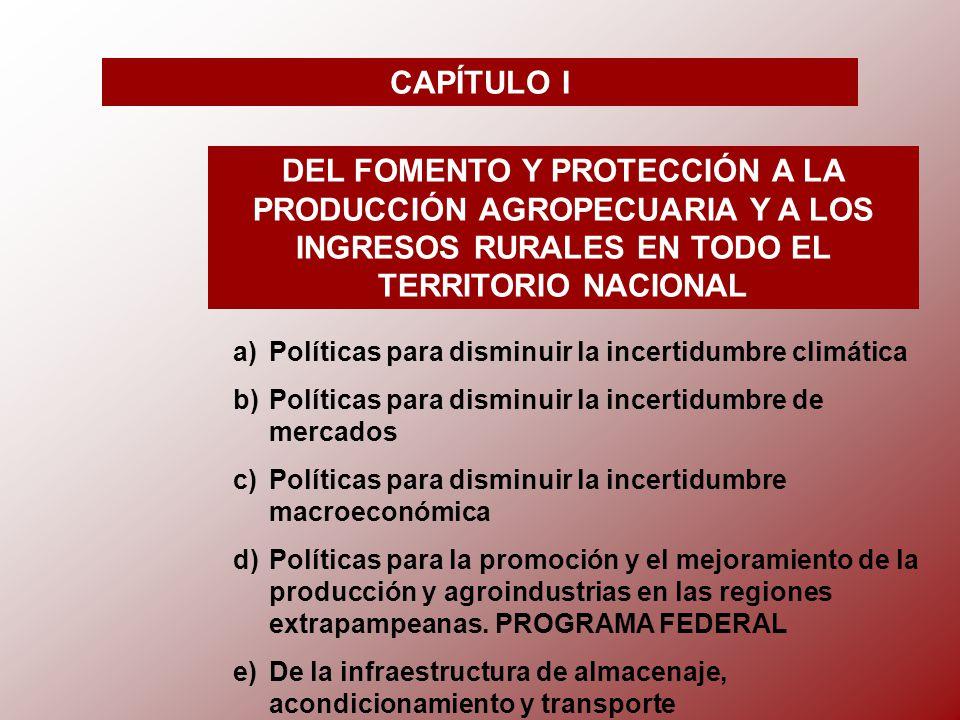 CAPÍTULO I DEL FOMENTO Y PROTECCIÓN A LA PRODUCCIÓN AGROPECUARIA Y A LOS INGRESOS RURALES EN TODO EL TERRITORIO NACIONAL a)Políticas para disminuir la incertidumbre climática b)Políticas para disminuir la incertidumbre de mercados c)Políticas para disminuir la incertidumbre macroeconómica d)Políticas para la promoción y el mejoramiento de la producción y agroindustrias en las regiones extrapampeanas.