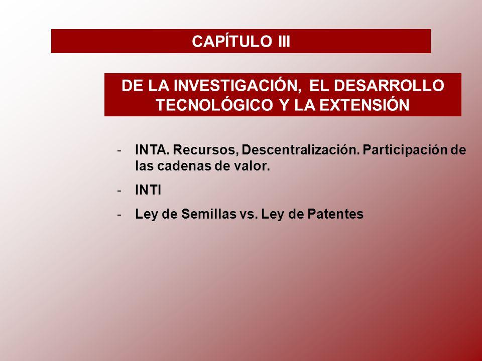 CAPÍTULO III DE LA INVESTIGACIÓN, EL DESARROLLO TECNOLÓGICO Y LA EXTENSIÓN -I-INTA.