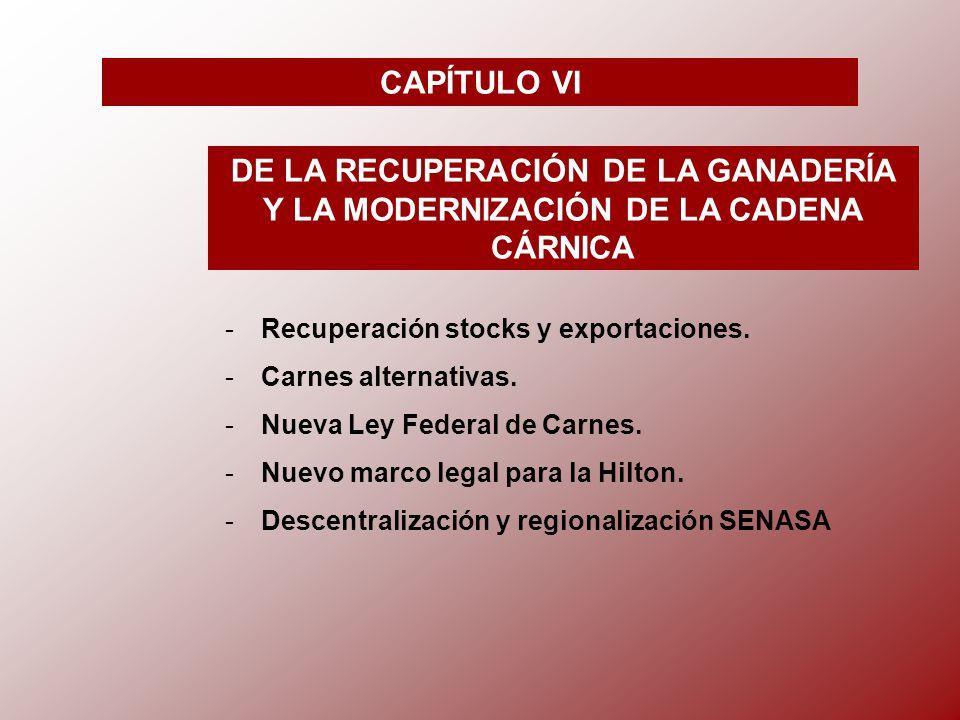 CAPÍTULO VI DE LA RECUPERACIÓN DE LA GANADERÍA Y LA MODERNIZACIÓN DE LA CADENA CÁRNICA -R-Recuperación stocks y exportaciones.