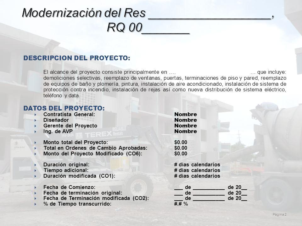 Página 2 Modernización del Res __________________, RQ 00_______ DESCRIPCION DEL PROYECTO: El alcance del proyecto consiste principalmente en ….