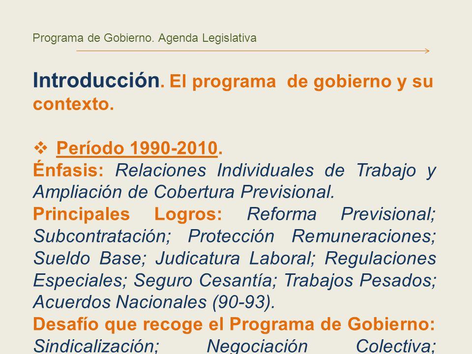 Programa de Gobierno. Agenda Legislativa Introducción.