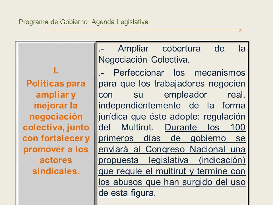 Programa de Gobierno. Agenda Legislativa