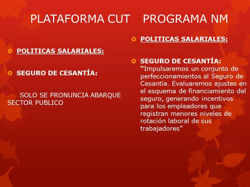  POLITICAS SALARIALES:  SEGURO DE CESANTÍA: Impulsaremos un conjunto de perfeccionamientos al Seguro de Cesantía.