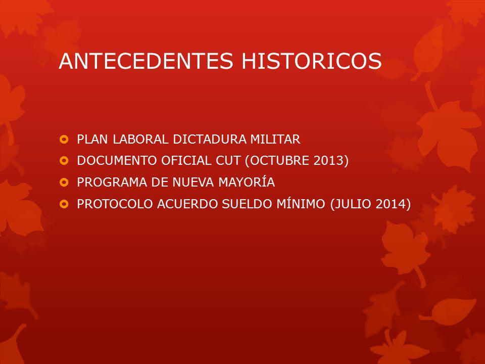 ANTECEDENTES HISTORICOS  PLAN LABORAL DICTADURA MILITAR  DOCUMENTO OFICIAL CUT (OCTUBRE 2013)  PROGRAMA DE NUEVA MAYORÍA  PROTOCOLO ACUERDO SUELDO MÍNIMO (JULIO 2014)