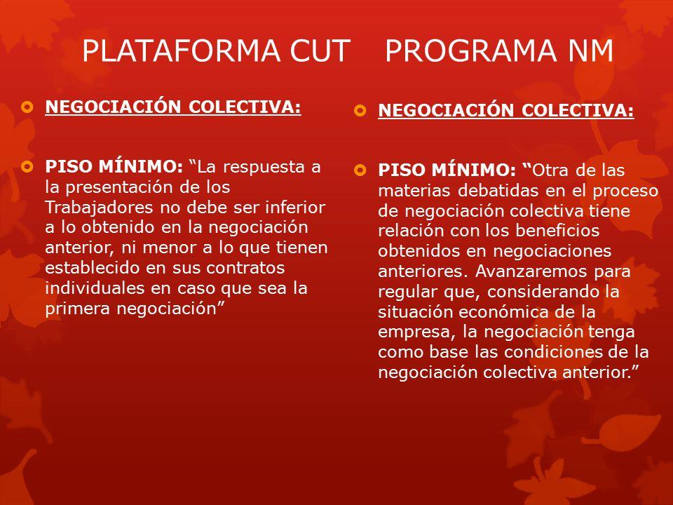  NEGOCIACIÓN COLECTIVA:  PISO MÍNIMO: Otra de las materias debatidas en el proceso de negociación colectiva tiene relación con los beneficios obtenidos en negociaciones anteriores.