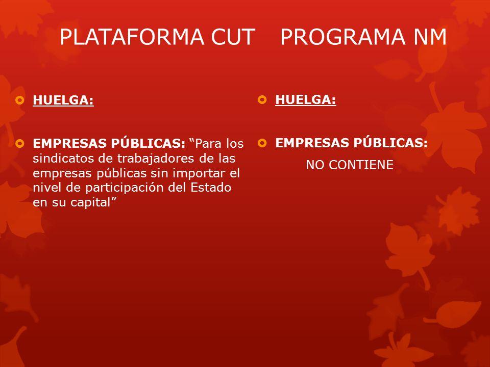  HUELGA:  EMPRESAS PÚBLICAS: NO CONTIENE PLATAFORMA CUTPROGRAMA NM  HUELGA:  EMPRESAS PÚBLICAS: Para los sindicatos de trabajadores de las empresas públicas sin importar el nivel de participación del Estado en su capital