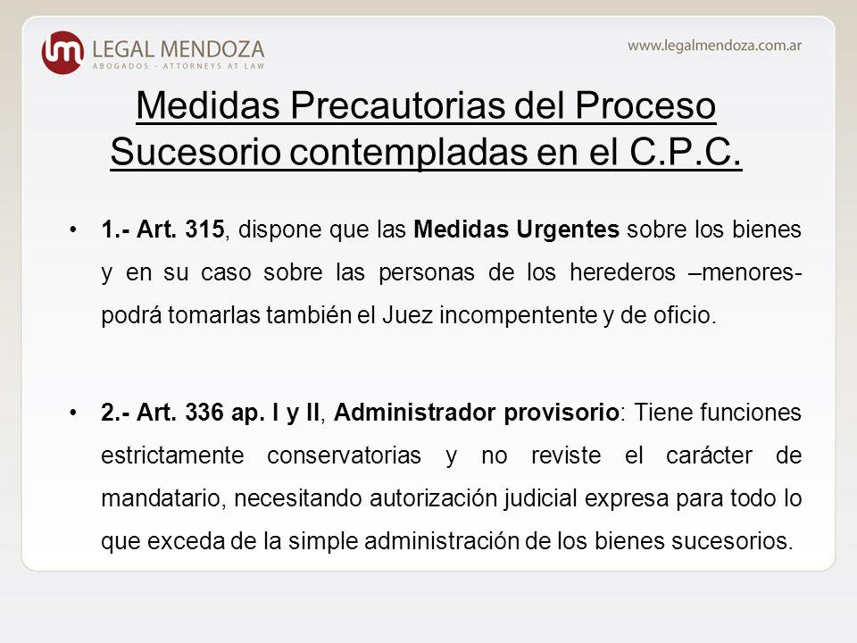 Medidas Precautorias del Proceso Sucesorio contempladas en el C.P.C.