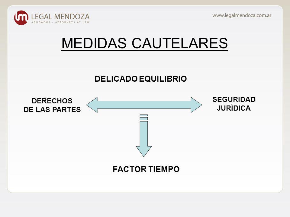 MEDIDAS CAUTELARES DELICADO EQUILIBRIO DERECHOS DE LAS PARTES SEGURIDAD JURÍDICA FACTOR TIEMPO