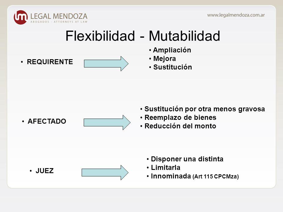 Flexibilidad - Mutabilidad Ampliación Mejora Sustitución AFECTADO JUEZ Sustitución por otra menos gravosa Reemplazo de bienes Reducción del monto Disponer una distinta Limitarla Innominada (Art 115 CPCMza) REQUIRENTE