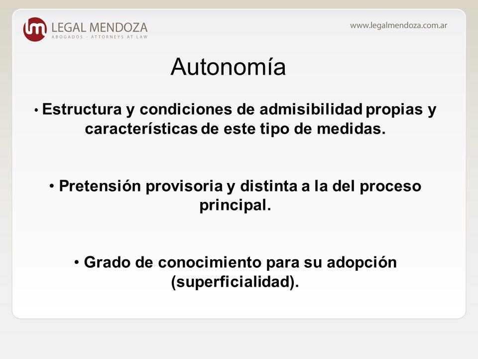 Autonomía Estructura y condiciones de admisibilidad propias y características de este tipo de medidas.
