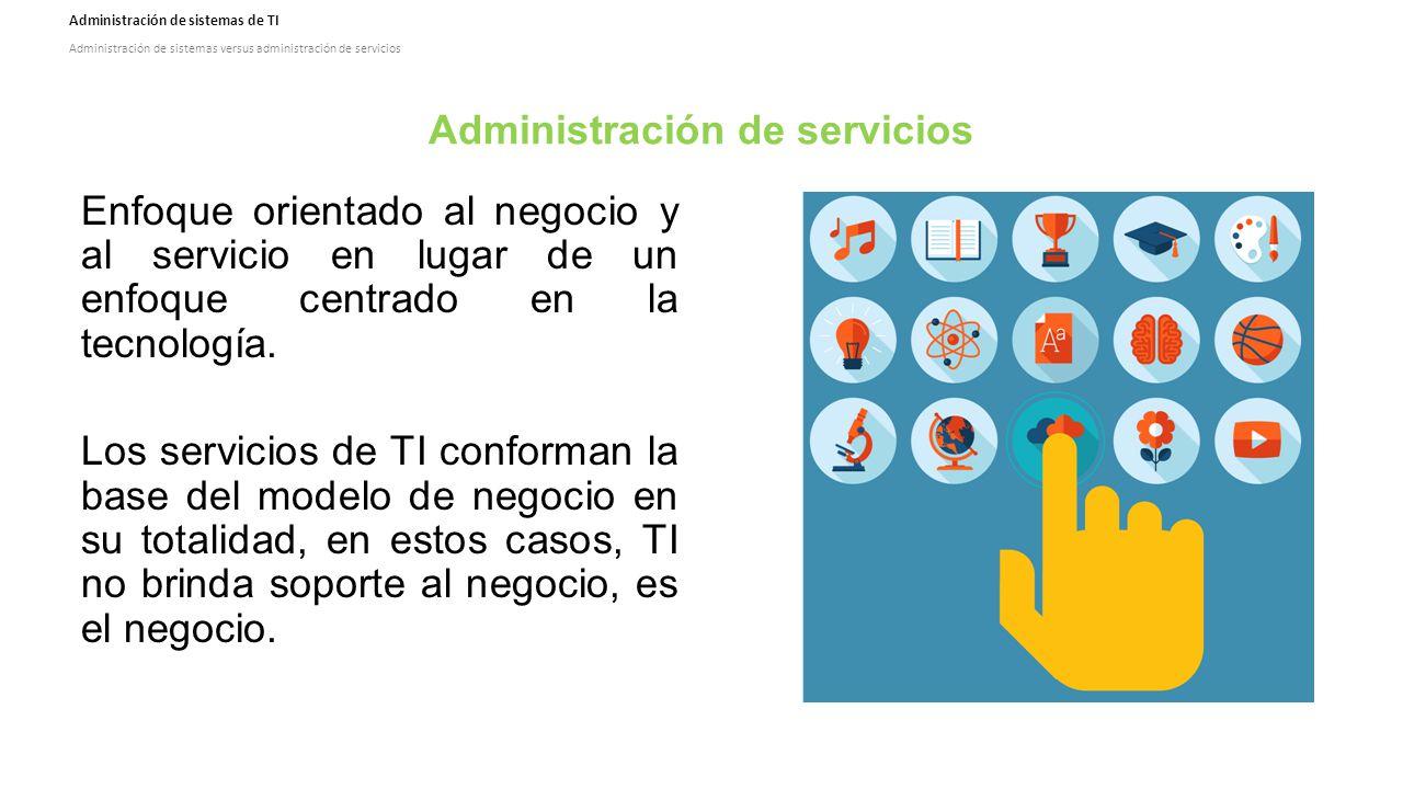 Administración de sistemas de TI Administración de sistemas versus administración de servicios Administración de servicios Enfoque orientado al negocio y al servicio en lugar de un enfoque centrado en la tecnología.