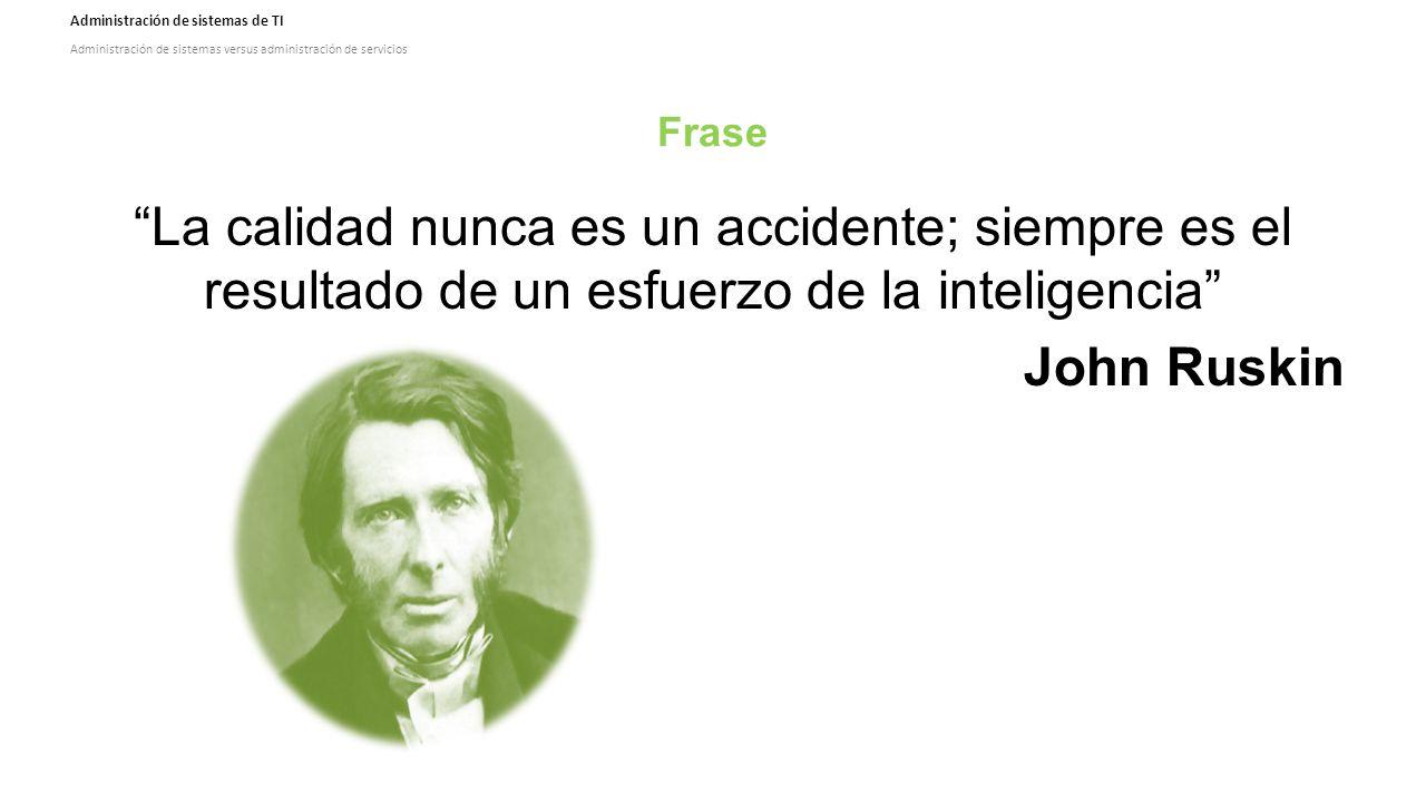 Administración de sistemas de TI Administración de sistemas versus administración de servicios Frase La calidad nunca es un accidente; siempre es el resultado de un esfuerzo de la inteligencia John Ruskin