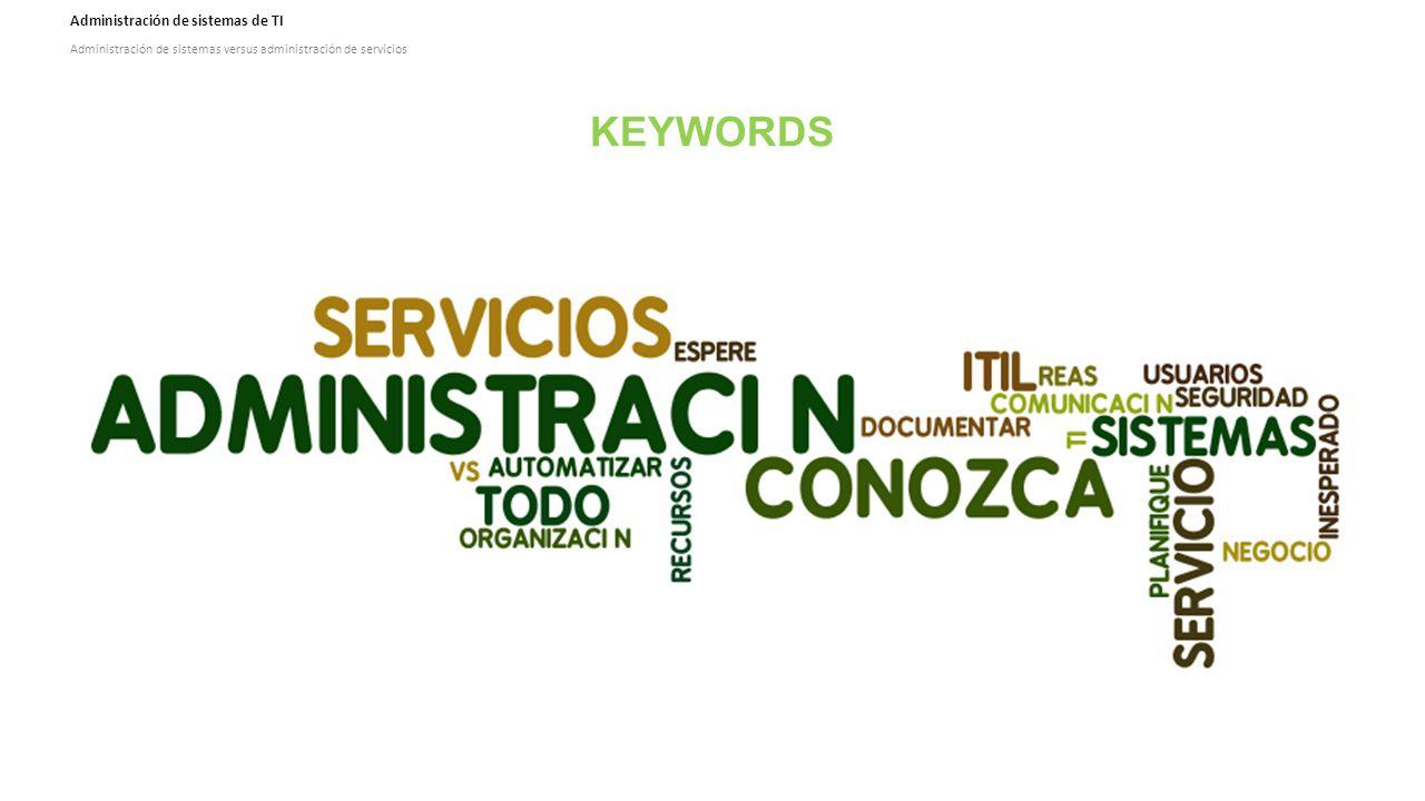 Administración de sistemas de TI Administración de sistemas versus administración de servicios KEYWORDS