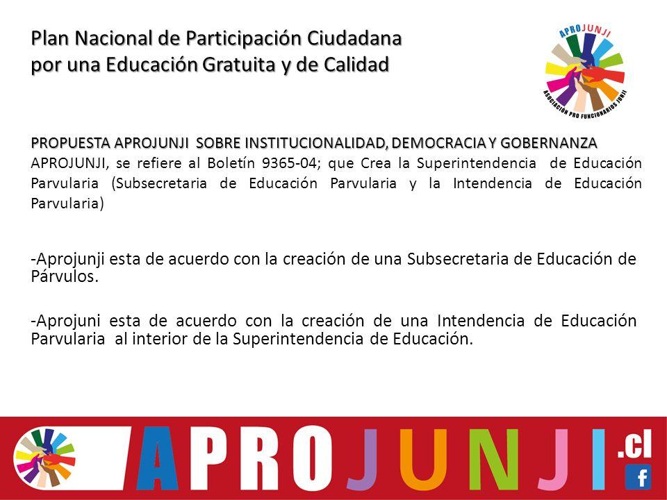 Plan Nacional de Participación Ciudadana por una Educación Gratuita y de Calidad -Aprojunji esta de acuerdo con la creación de una Subsecretaria de Educación de Párvulos.