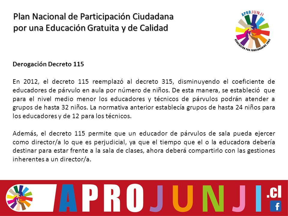 Plan Nacional de Participación Ciudadana por una Educación Gratuita y de Calidad Derogación Decreto 115 En 2012, el decreto 115 reemplazó al decreto 315, disminuyendo el coeficiente de educadores de párvulo en aula por número de niños.