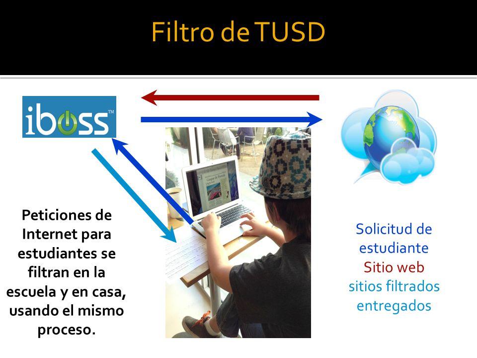 Filtro de TUSD Peticiones de Internet para estudiantes se filtran en la escuela y en casa, usando el mismo proceso.