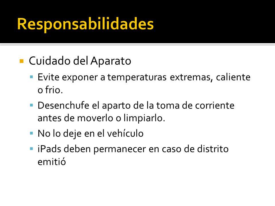  Cuidado del Aparato  Evite exponer a temperaturas extremas, caliente o frio.