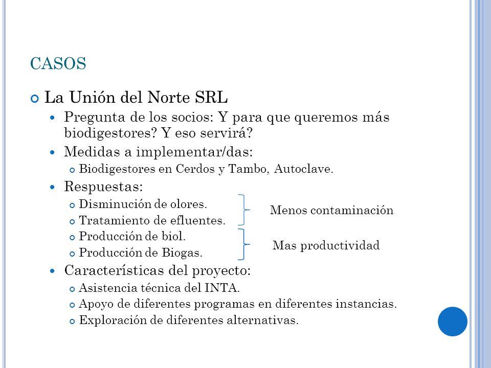 CASOS La Unión del Norte SRL Pregunta de los socios: Y para que queremos más biodigestores.