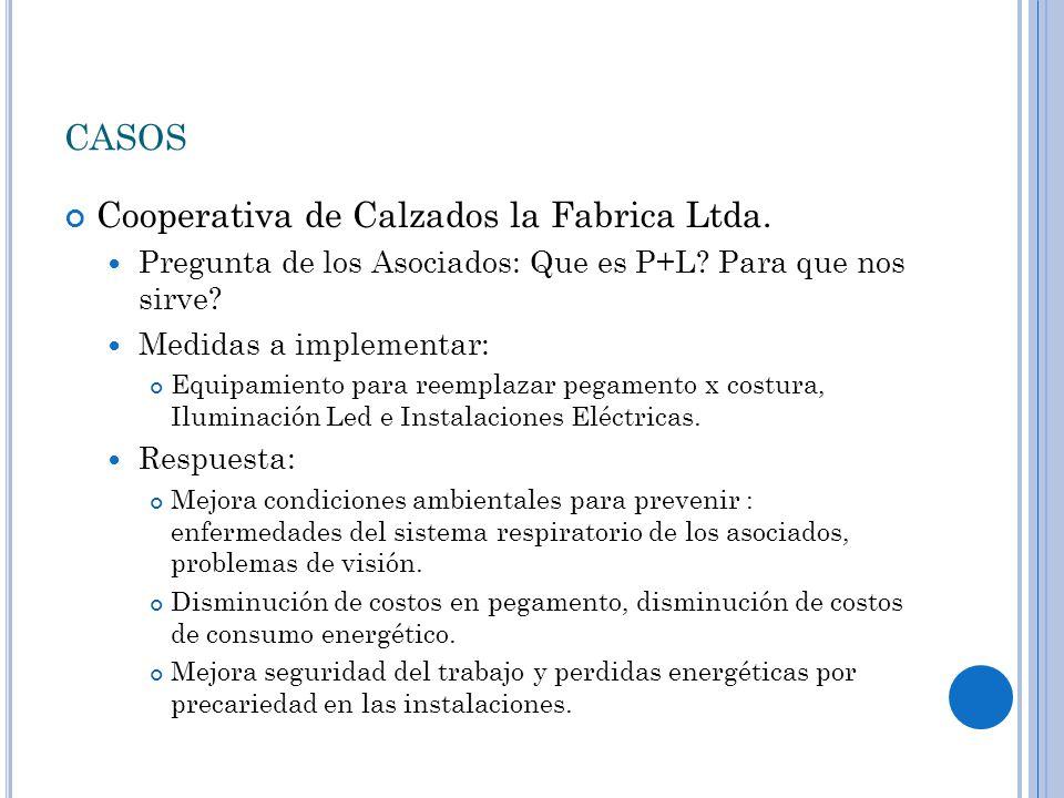 CASOS Cooperativa de Calzados la Fabrica Ltda. Pregunta de los Asociados: Que es P+L.