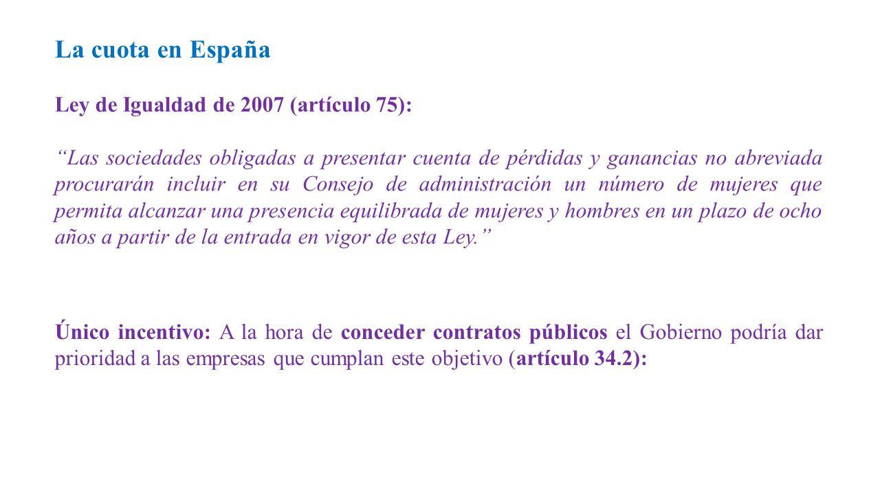 Ley de Igualdad de 2007 (artículo 75): Las sociedades obligadas a presentar cuenta de pérdidas y ganancias no abreviada procurarán incluir en su Consejo de administración un número de mujeres que permita alcanzar una presencia equilibrada de mujeres y hombres en un plazo de ocho años a partir de la entrada en vigor de esta Ley. La cuota en España Único incentivo: A la hora de conceder contratos públicos el Gobierno podría dar prioridad a las empresas que cumplan este objetivo (artículo 34.2):