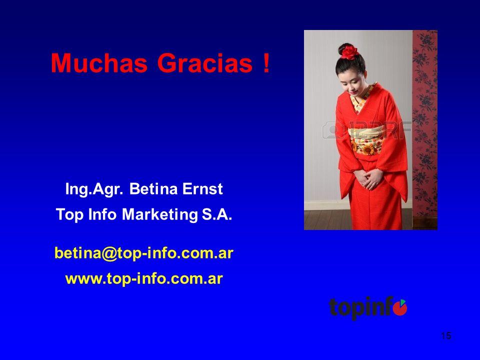 15 Muchas Gracias . Ing.Agr. Betina Ernst Top Info Marketing S.A.