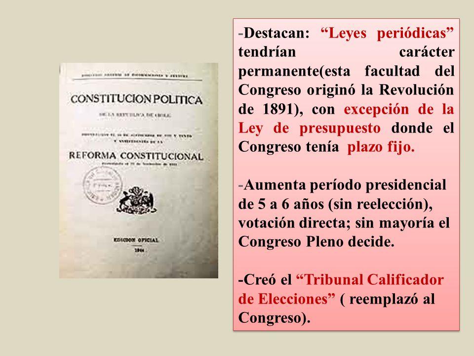 -Destacan: Leyes periódicas tendrían carácter permanente(esta facultad del Congreso originó la Revolución de 1891), con excepción de la Ley de presupuesto donde el Congreso tenía plazo fijo.