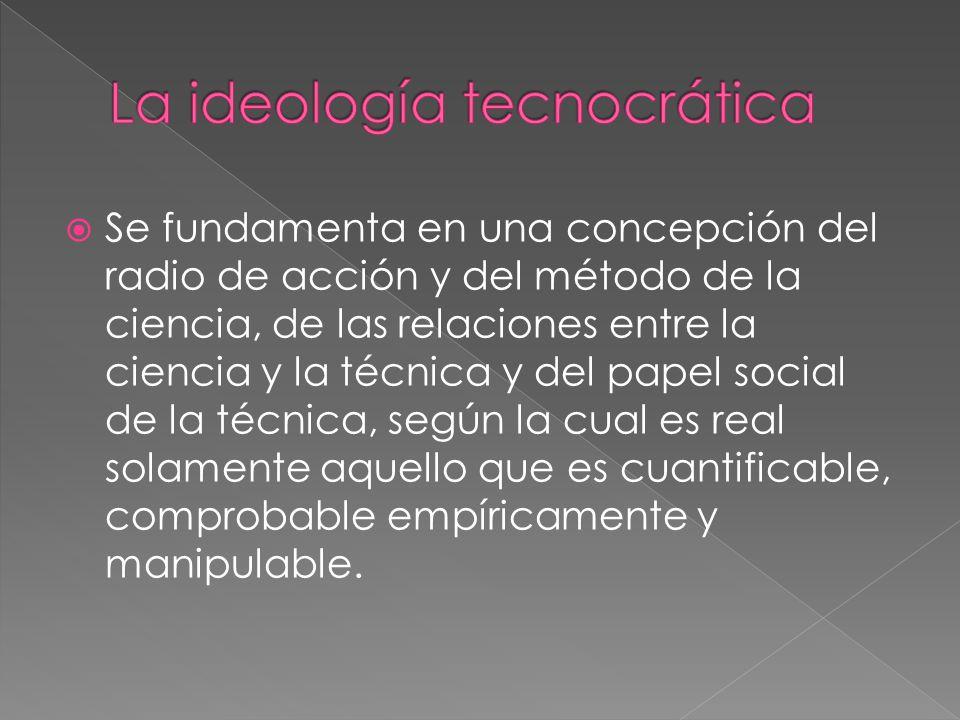  Se fundamenta en una concepción del radio de acción y del método de la ciencia, de las relaciones entre la ciencia y la técnica y del papel social de la técnica, según la cual es real solamente aquello que es cuantificable, comprobable empíricamente y manipulable.