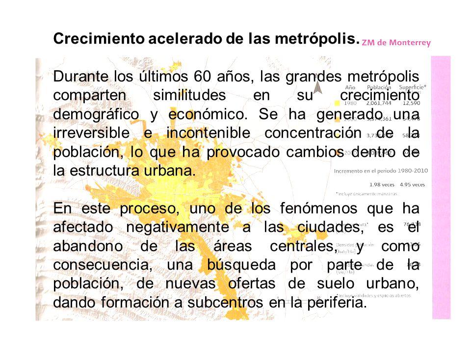 Crecimiento acelerado de las metrópolis.