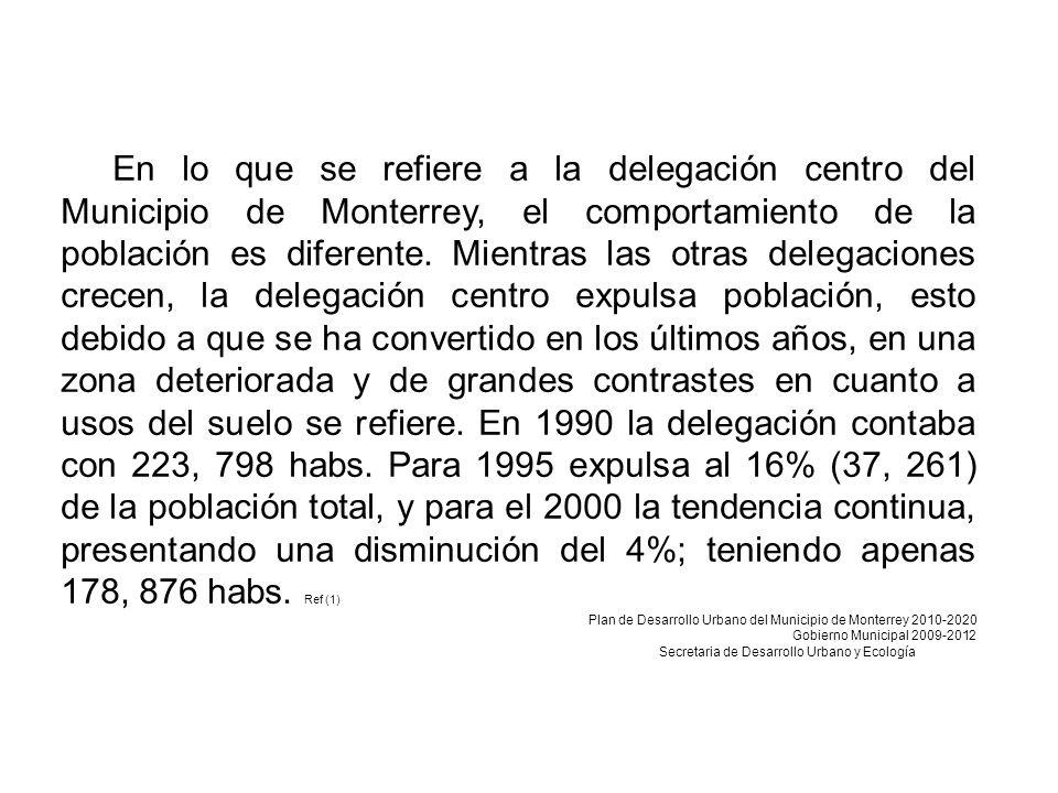 En lo que se refiere a la delegación centro del Municipio de Monterrey, el comportamiento de la población es diferente.