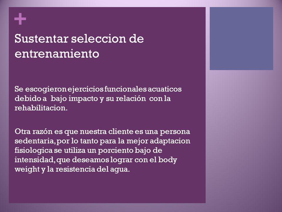 + Sustentar seleccion de entrenamiento Se escogieron ejercicios funcionales acuaticos debido a bajo impacto y su relación con la rehabilitacion.