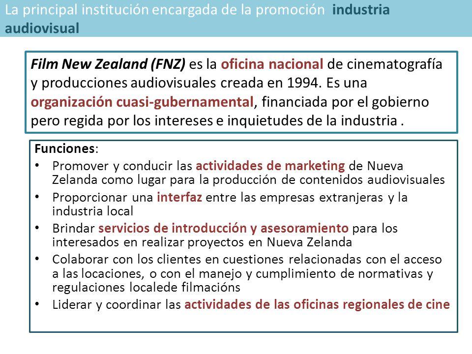 Funciones: Promover y conducir las actividades de marketing de Nueva Zelanda como lugar para la producción de contenidos audiovisuales Proporcionar una interfaz entre las empresas extranjeras y la industria local Brindar servicios de introducción y asesoramiento para los interesados en realizar proyectos en Nueva Zelanda Colaborar con los clientes en cuestiones relacionadas con el acceso a las locaciones, o con el manejo y cumplimiento de normativas y regulaciones localede filmacións Liderar y coordinar las actividades de las oficinas regionales de cine Film New Zealand (FNZ) es la oficina nacional de cinematografía y producciones audiovisuales creada en 1994.