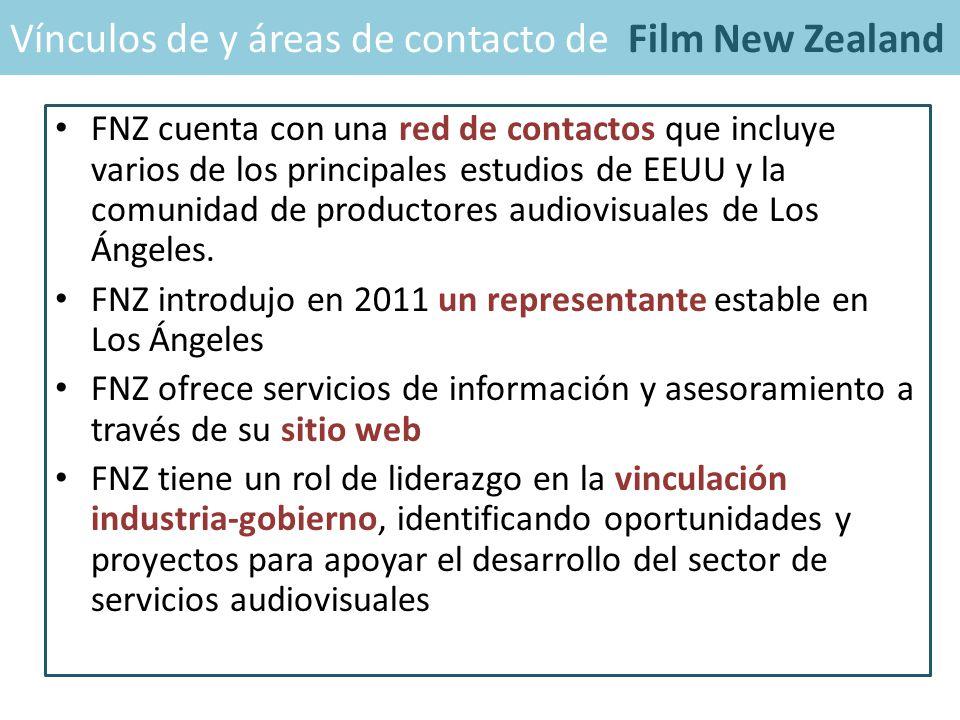 FNZ cuenta con una red de contactos que incluye varios de los principales estudios de EEUU y la comunidad de productores audiovisuales de Los Ángeles.