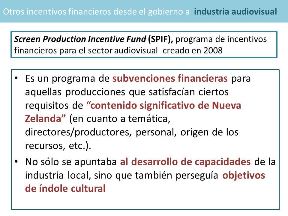 Es un programa de subvenciones financieras para aquellas producciones que satisfacían ciertos requisitos de contenido significativo de Nueva Zelanda (en cuanto a temática, directores/productores, personal, origen de los recursos, etc.).