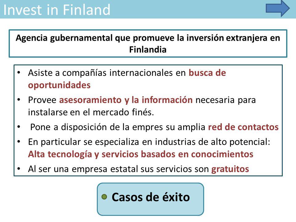 Invest in Finland Asiste a compañías internacionales en busca de oportunidades Provee asesoramiento y la información necesaria para instalarse en el mercado finés.