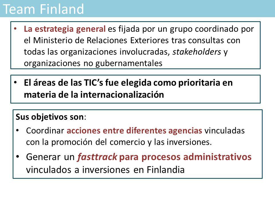 Team Finland Sus objetivos son: Coordinar acciones entre diferentes agencias vinculadas con la promoción del comercio y las inversiones.