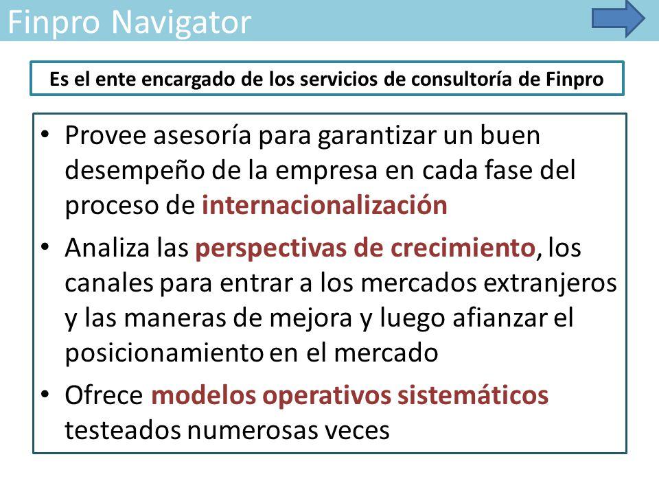 Finpro Navigator Provee asesoría para garantizar un buen desempeño de la empresa en cada fase del proceso de internacionalización Analiza las perspectivas de crecimiento, los canales para entrar a los mercados extranjeros y las maneras de mejora y luego afianzar el posicionamiento en el mercado Ofrece modelos operativos sistemáticos testeados numerosas veces Es el ente encargado de los servicios de consultoría de Finpro