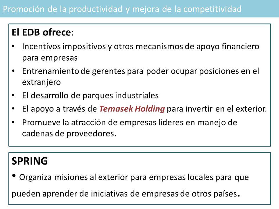 Promoción de la productividad y mejora de la competitividad El EDB ofrece: Incentivos impositivos y otros mecanismos de apoyo financiero para empresas Entrenamiento de gerentes para poder ocupar posiciones en el extranjero El desarrollo de parques industriales El apoyo a través de Temasek Holding para invertir en el exterior.
