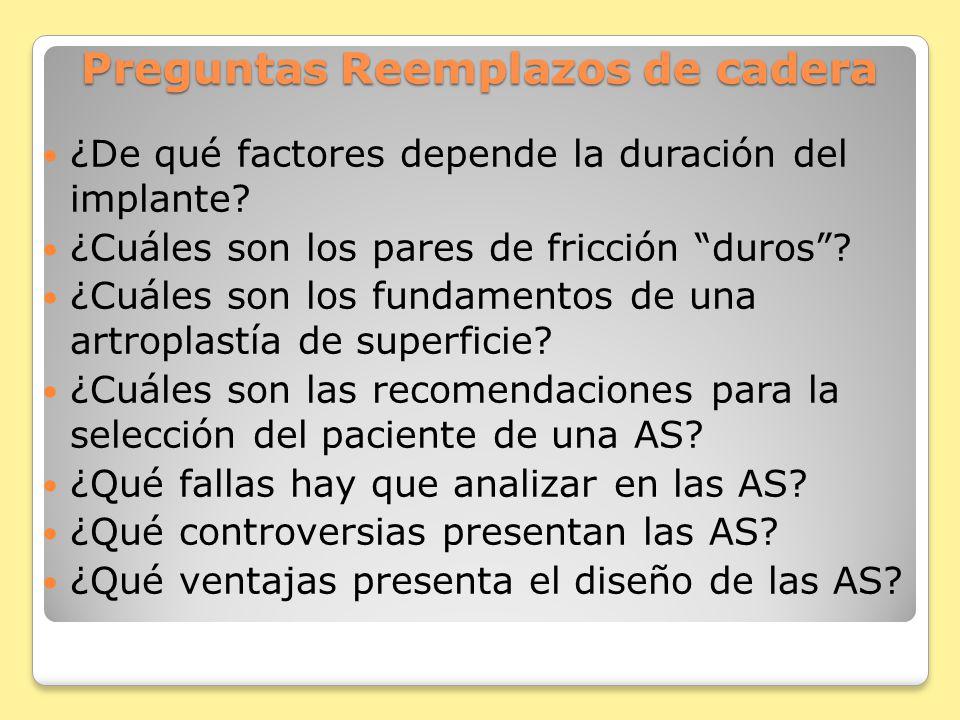 Preguntas Reemplazos de cadera ¿De qué factores depende la duración del implante.