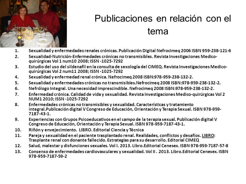 Publicaciones en relación con el tema 1.Sexualidad y enfermedades renales crónicas.