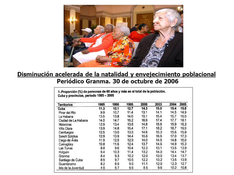 Disminución acelerada de la natalidad y envejecimiento poblacional Periódico Granma.