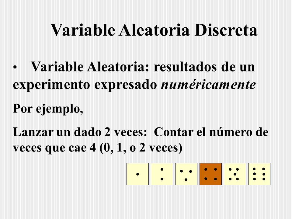 Variable Aleatoria Discreta Variable Aleatoria: resultados de un experimento expresado numéricamente Por ejemplo, Lanzar un dado 2 veces: Contar el número de veces que cae 4 (0, 1, o 2 veces)