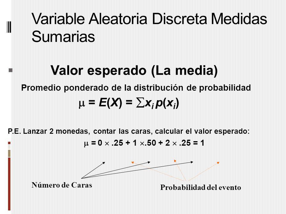 Variable Aleatoria Discreta Medidas Sumarias  Valor esperado (La media) Promedio ponderado de la distribución de probabilidad  = E(X) =  x i p(x i ) P.E.
