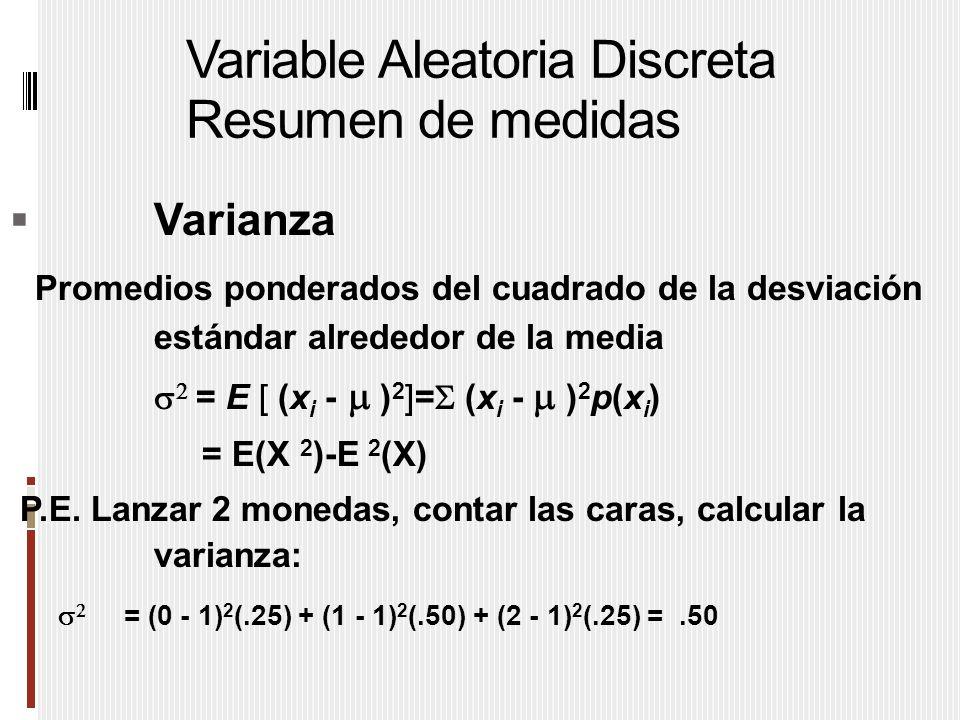 Variable Aleatoria Discreta Resumen de medidas  Varianza Promedios ponderados del cuadrado de la desviación estándar alrededor de la media   = E [ (x i -  ) 2 ]=  (x i -  ) 2 p(x i ) = E(X 2 )-E 2 (X) P.E.