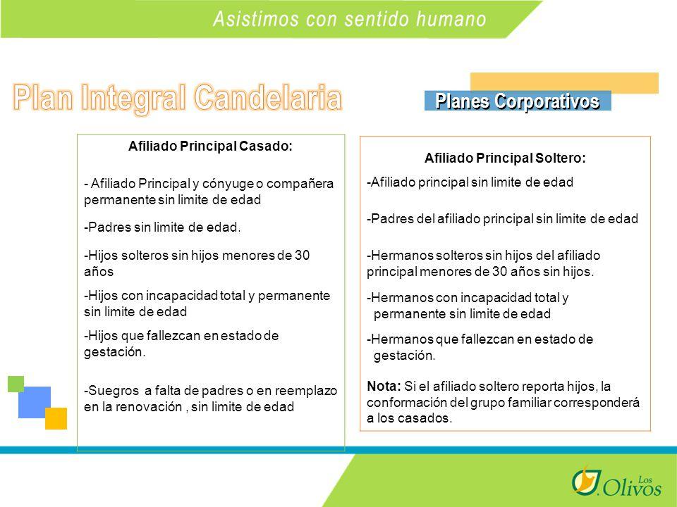 K Planes Corporativos Afiliado Principal Casado: - Afiliado Principal y cónyuge o compañera permanente sin limite de edad -Padres sin limite de edad.